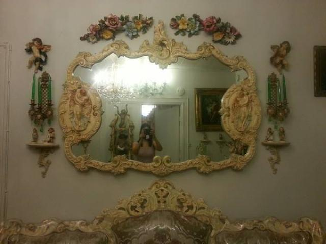 Large Antique Victorian Wall Mirror Flowers For Sale
