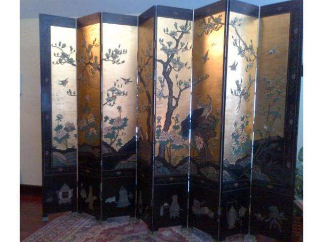 Chinese Screen Antique Coromandel 8 Panel Black Lacquer