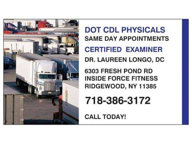 Open Sunday DMV DOT CDL Physicals by Certified Doctor