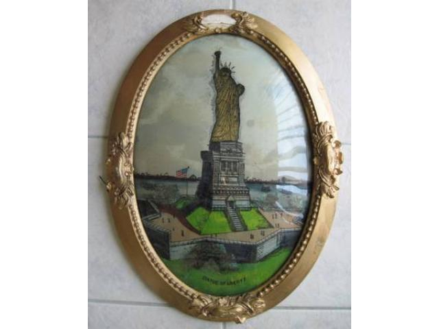 Decorative Arts Statue Of Liberty Framed Picture Vintage