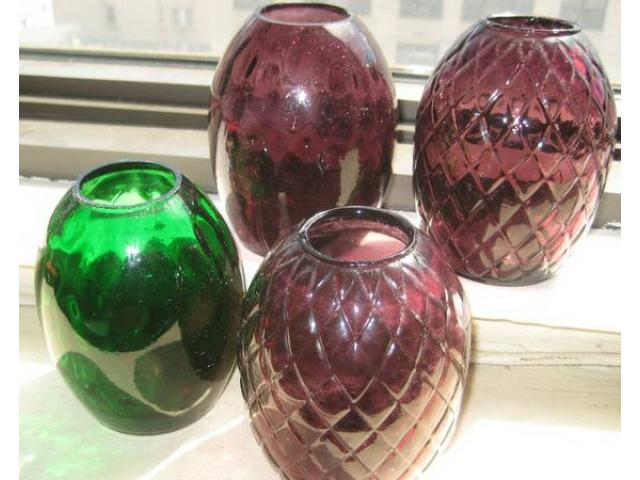 4 Vintage Colored Glass Bud Vases Designed For Window Sill For Sale